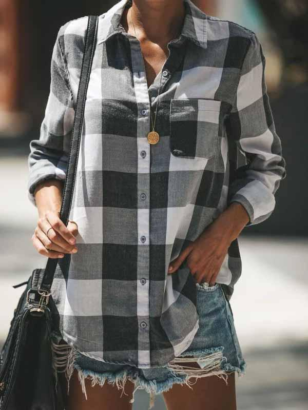 V-neck Plaid Long Sleeve Button Blouse