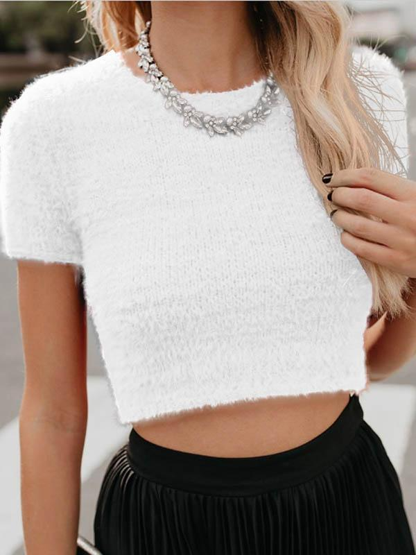 Plush Short Sleeve Short Blouse