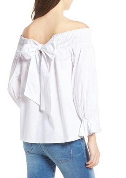 Collar Pure Color Tie Blouse-Blouse-Fechicin.com