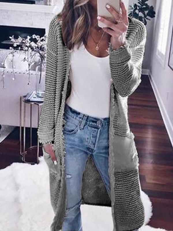 Casual Long Sleeves Solid Cardigan