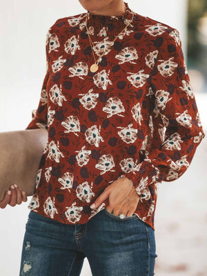 Butterfly Print O-neck Fold Blouse