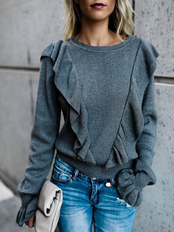 Loose Ruffle Flare Sleeve Solid Sweater