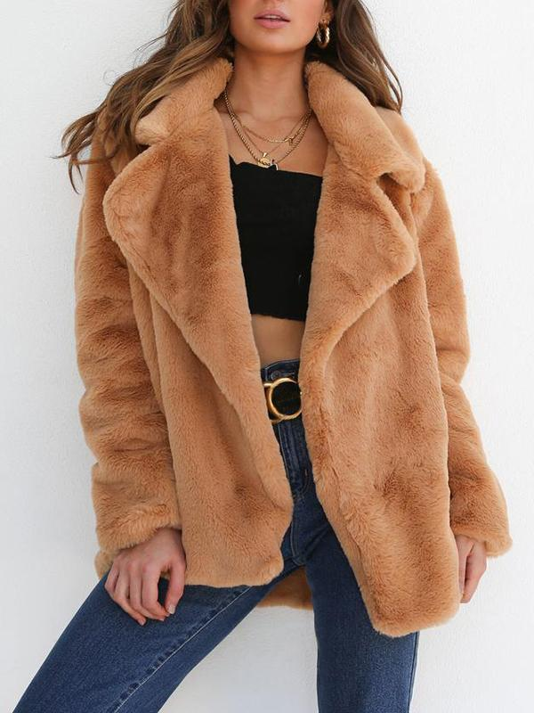 Plush Lapel Loose Coat