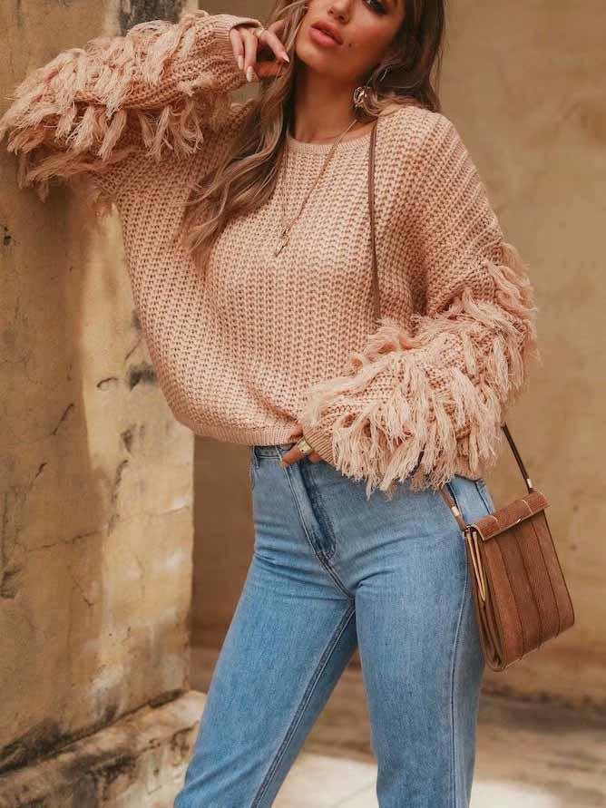 Solid Color Long SleeveTassel Sweater