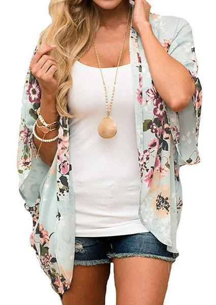 Floral Batwing Sleeve Cardigan without Necklace-Blouse-Fechicin.com
