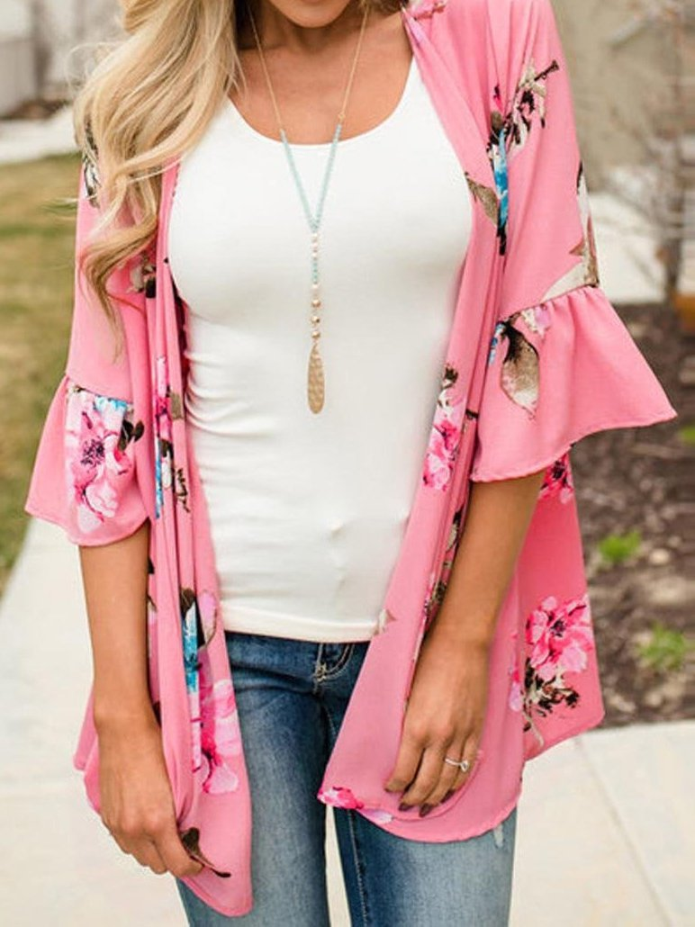 Floral Printed Horn Sleeve Cardigan Blouse-Cardigans-Fechicin.com