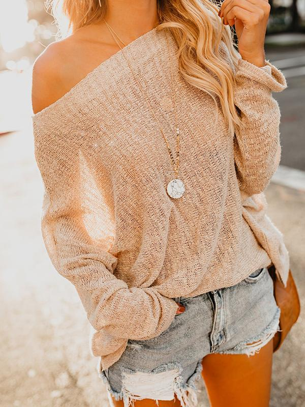 Solid Color Off Shoulder Casual Sweater