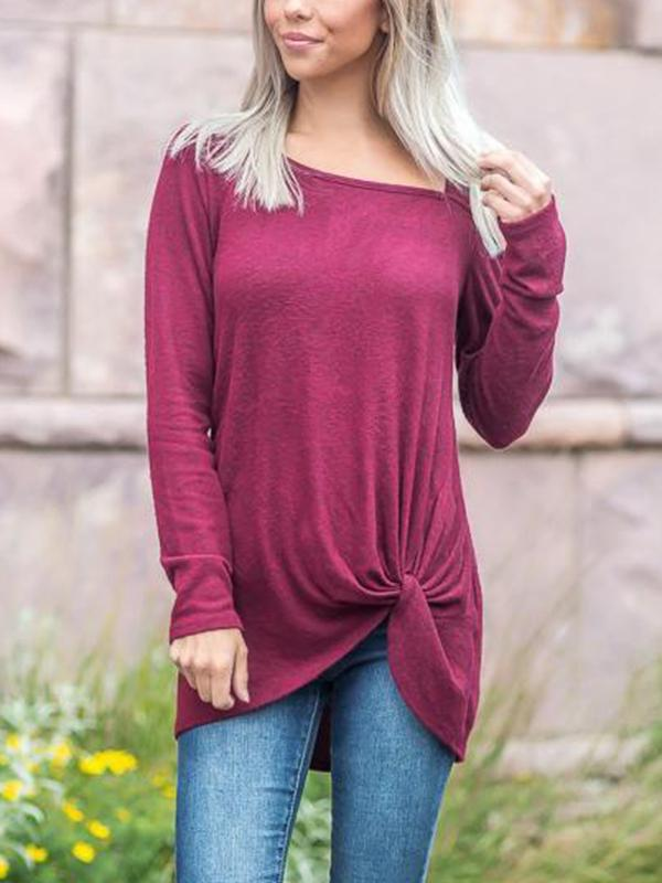 Solid Color One Shoulder Strapless Long Sleeve T-shirt