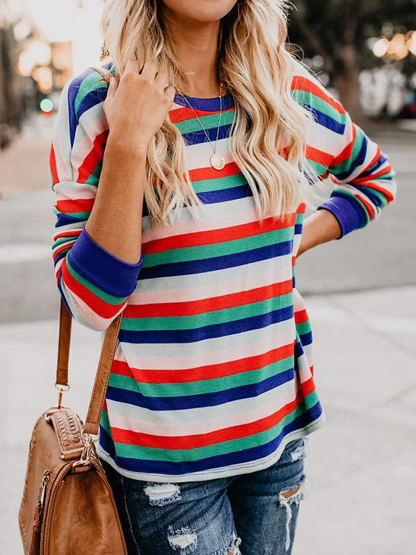 Colorblock Striped Long Sleeve T-shirt