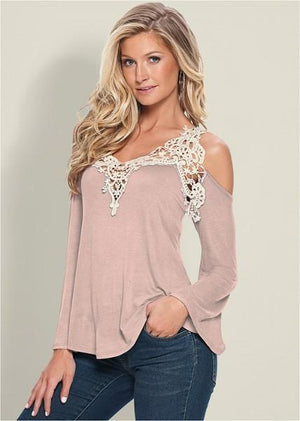 Sexy Cold Shoulder Top-Blouse-Fechicin.com