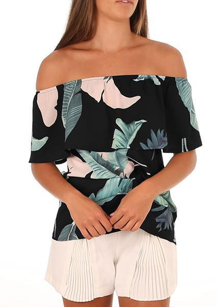 Sexy Printing Off-shoulder Ruffled Tops-Blouse-Fechicin.com