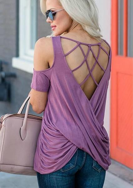 Solid Backing Criss-Cross Sexy Blouse-Blouse-Fechicin.com