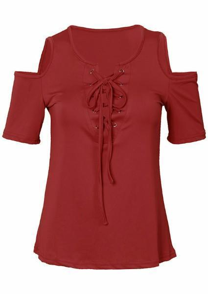 Solid Cold Shoulder Lace Up Blouse-Blouse-Fechicin.com