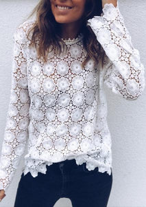 Solid Color Lace Hollow Sexy Blouse-Blouse-Fechicin.com
