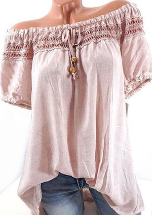 Solid Color Lace Stitching Off Collar Blouse-Blouse-Fechicin.com