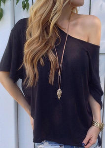 Solid Color Loose Off-shoulder Casual Blouse-Blouse-Fechicin.com