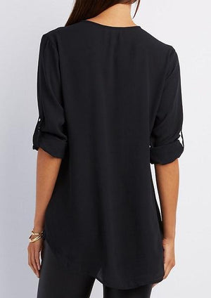 Solid Front Zipper Tab-Sleeve Fashion Blouse-Blouse-Fechicin.com