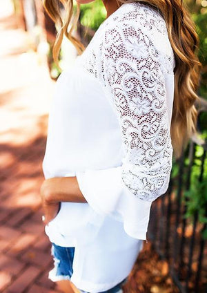 Solid Lace Floral Splicing One Shoulder Sexy Blouse-Blouse-Fechicin.com