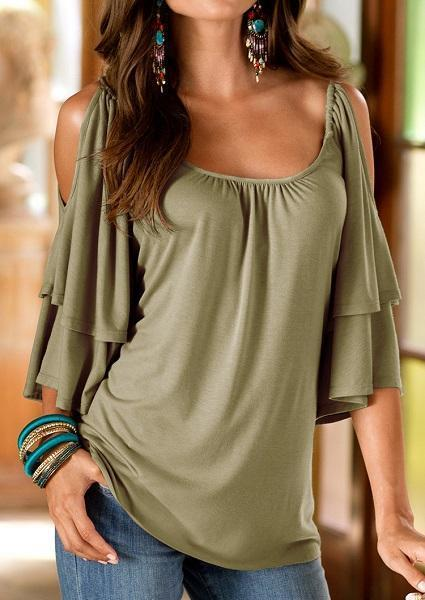 Solid Layered Ruffled Off Shoulder Stylish O-Neck Blouse-Blouse-Fechicin.com