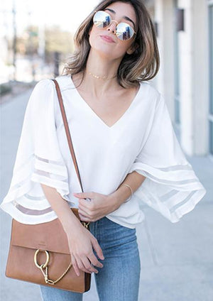 Solid Trumpet Sleeve Splicing Chiffon V-neck Blouse-Blouse-Fechicin.com