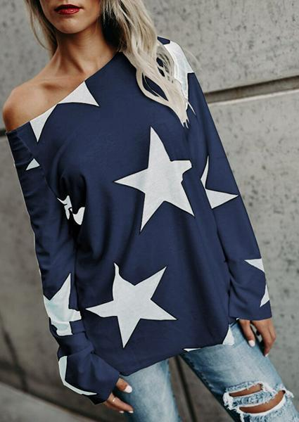Stars Printed Cotton Comforatble Top-Blouse-Fechicin.com