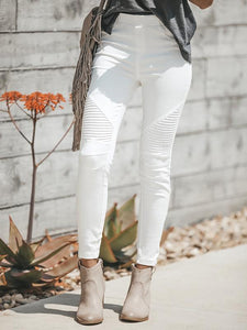 Fechicin.com Bottoms White / S Solid Color Pleated Tight Legging