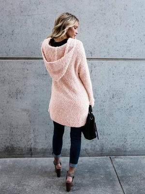 Fechicin.com Cardigans & Coats Solid Color Long Sleeve Plush Coat