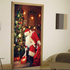 Fechicin.com Holiday 2 PCS Christmas Decorations 3D Door Decals Self-Adhesive Stickers