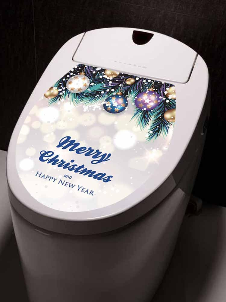 Fechicin.com Holiday BLUE Christmas Toilet Cover Sticker Removable Decals Home Bathroom Decoration