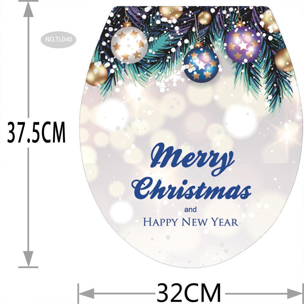 Fechicin.com Holiday Christmas Toilet Cover Sticker Removable Decals Home Bathroom Decoration