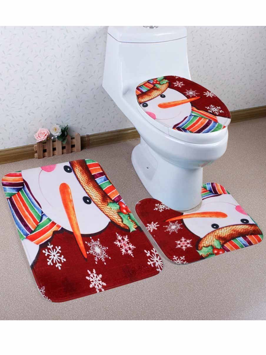 Fechicin.com Holiday Decorations brown / One Size 3-Piece Santa Toilet Seat Cover Christmas Decorations