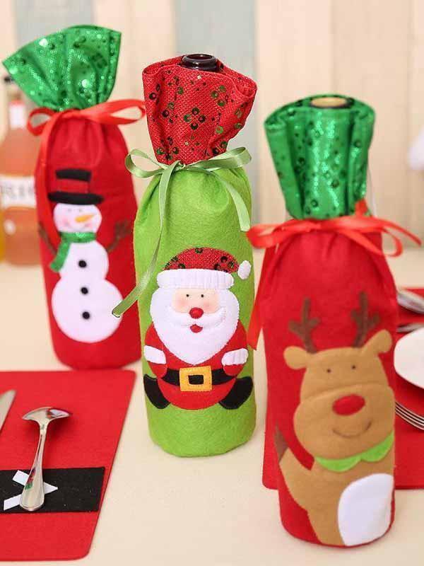 Fechicin.com Holiday Decorations Christmas Santa Claus Elk Snow Man Wine Bags