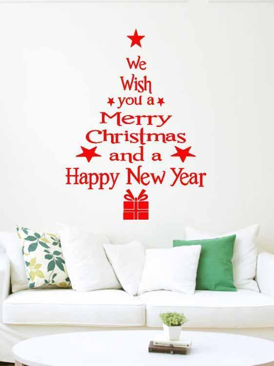 Fechicin.com Holiday Decorations Christmas Tree Living Room Bedroom Window Glass Wall Stickers