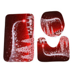 Fechicin.com Holiday Decorations RED 3-Piece Santa Toilet Seat Cover Christmas Decorations