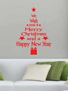 Fechicin.com Holiday Decorations RED Christmas Tree Living Room Bedroom Window Glass Wall Stickers