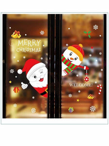 Fechicin.com Holiday Decorations RED Santa Claus Glass Sticker Holiday Decoration