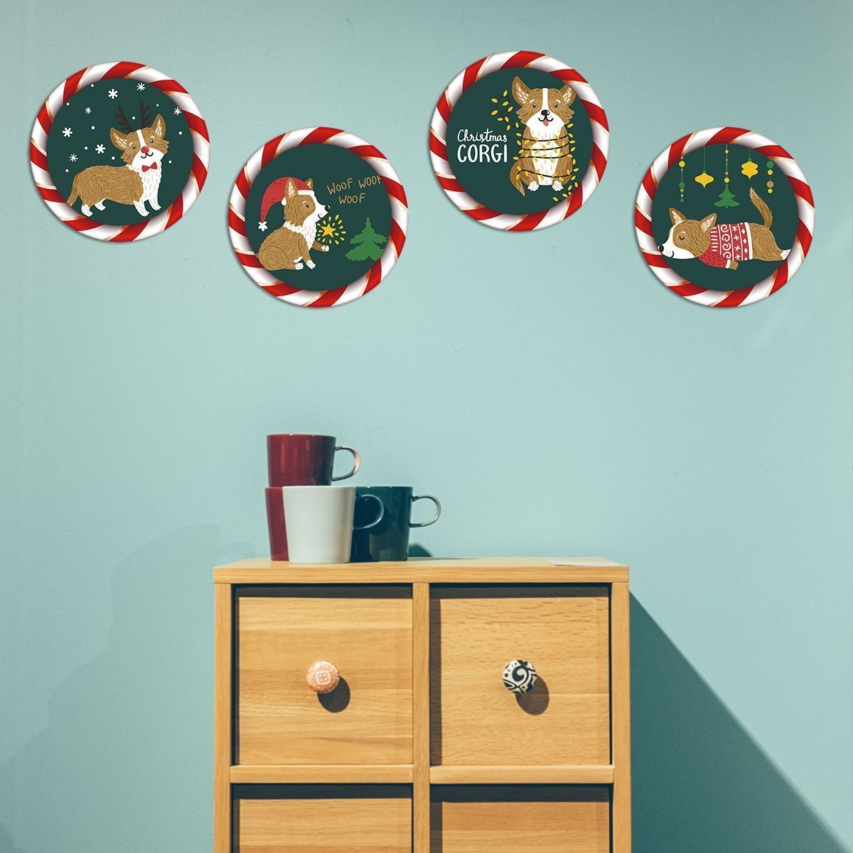 Fechicin.com Holiday GREEN Christmas Wall Sticker Window Sticker