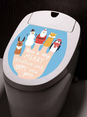 Fechicin.com Holiday LIGHT BLUE Christmas Toilet Cover Sticker Removable Decals Home Bathroom Decoration