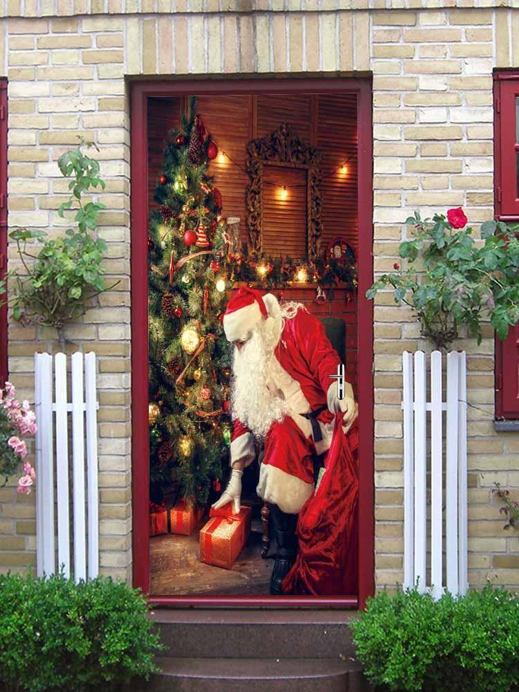 Fechicin.com Holiday RED 2 PCS Christmas Decorations 3D Door Decals Self-Adhesive Stickers