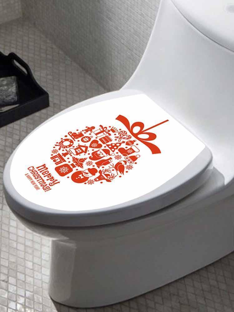 Fechicin.com Holiday RED Christmas Toilet Cover Sticker Removable Decals Home Bathroom Decoration