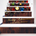 Fechicin.com Holiday RED / One Size 6pcs/Set Christmas Snowman Gifts Tile Stair Risers Stickers