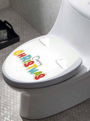 Fechicin.com Holiday YELLOW Christmas Toilet Cover Sticker Removable Decals Home Bathroom Decoration