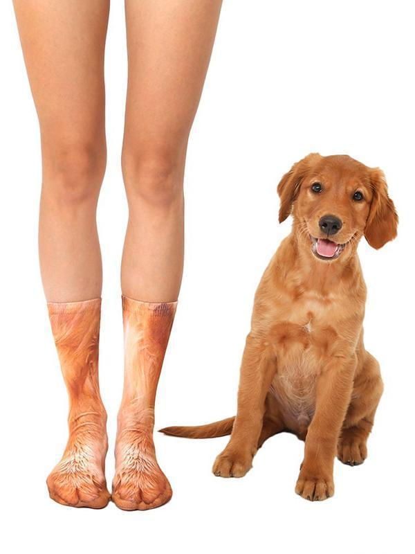 Venuslike.com Socks Golden Retriever / One Size Animal Paws Crew Socks