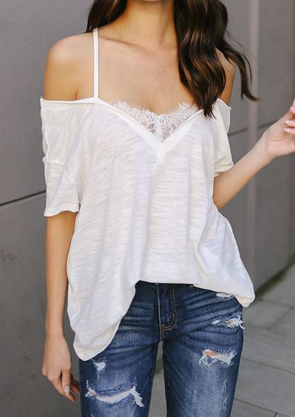 White Lace Strap Off-shoulder Blouse-Blouse-Fechicin.com