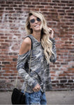 Women Strapless Camouflage Long Sleeve O-Neck Top-Blouse-Fechicin.com