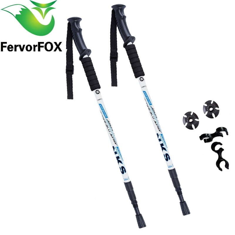 Ultralight Anti Shock Hiking Poles With Rubber Tip Protectors