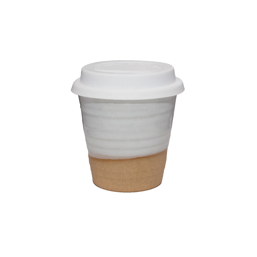 Two Tone Carousel Cup with White Lid - White