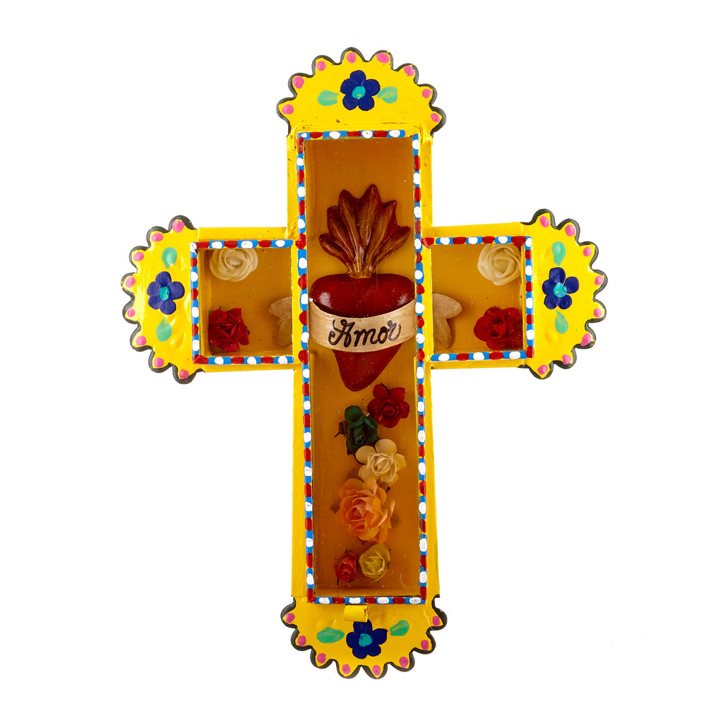 Mexican Handcrafts // Yellow Amor Cross Wall Hanging / Ornament