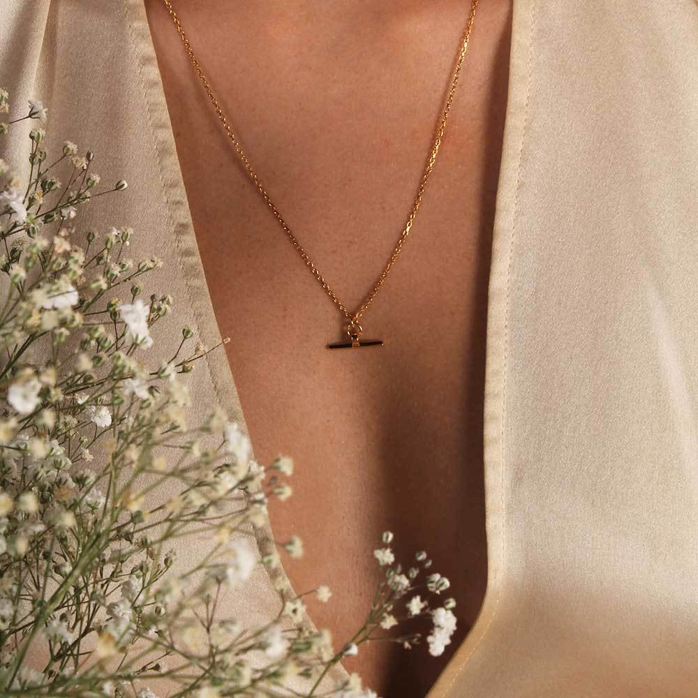 Linda Tahija // Valentina T-Bar Necklace - Yellow Gold Plated Sterling Silver