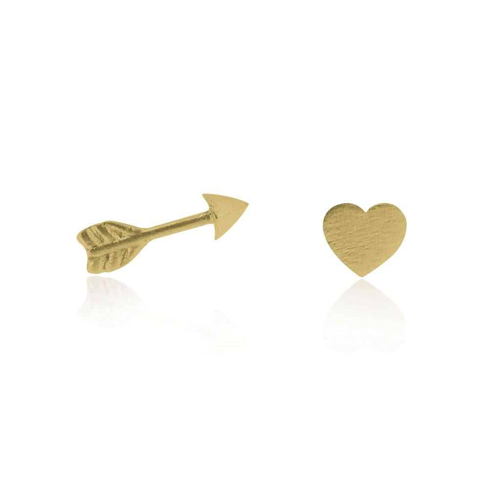 Linda Tahija //  Heart & Arrow Stud Earrings - Yellow Gold Plated Sterling Silver